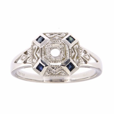 Art Deco Style Semi Mount Blue Sapphire Filigree Ring - 14kt White Gold