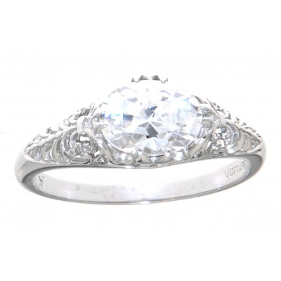 Art Deco Style 14kt White Gold CZ Filigree Ring 6 x 8mm Oval