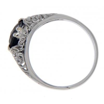 London Blue Topaz Art Deco Style 14kt White Gold Filigree Ring 6 x 8mm Oval