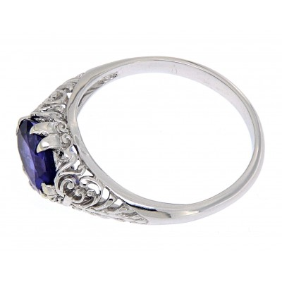 Tanzanite Art Deco Style 14kt White Gold Filigree Ring 6 x 8mm Oval