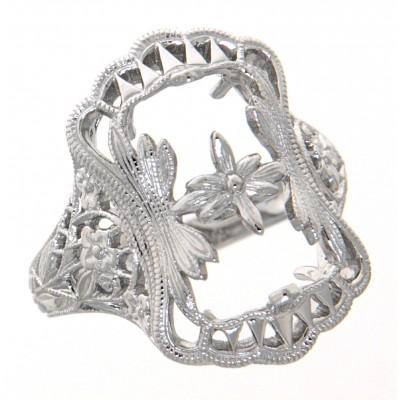 Antique Victorian Style Filigree Ring Flower Design Semi Mount 14kt White Gold