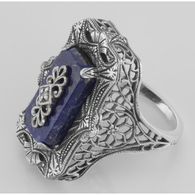 Victorian Style Blue Lapis Filigree Diamond Ring - Sterling Silver