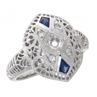 Semi Mount Diamond and Sapphire Filigree Ring - Art Deco Style - 14kt White Gold
