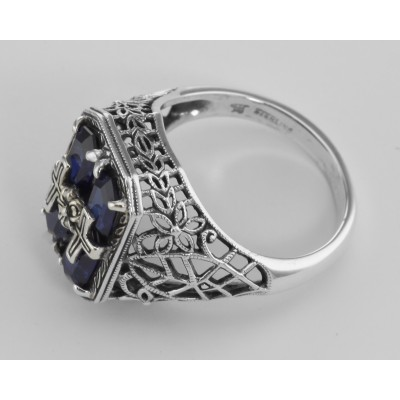 Cross and Flower Design Blue Sapphire Filigree Ring - Sterling Silver