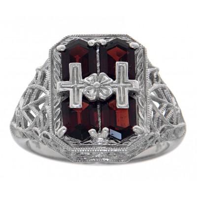 Cross and Flower Design Garnet Filigree Ring - Sterling Silver
