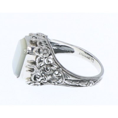Unique Black Onyx / Mother of Pearl Filigree Flip Ring - Sterling Silver