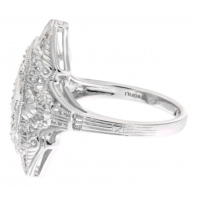 Art Deco Style Three Stone 14kt White Gold Filigree Semi Mount Ring