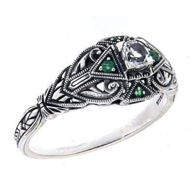 Art Deco Style White Topaz Filigree Ring w/ Emerald Accents - Sterling Silver