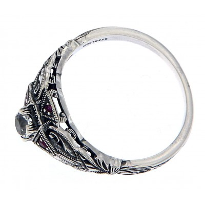 Art Deco Style White Topaz Filigree Ring w/ Ruby Accents - Sterling Silver
