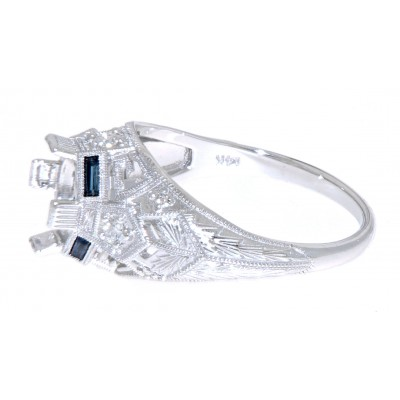 Art Deco Style Semi Mount Filigree Ring w/ Blue Sapphire, Diamond Accents - 14kt White Gold