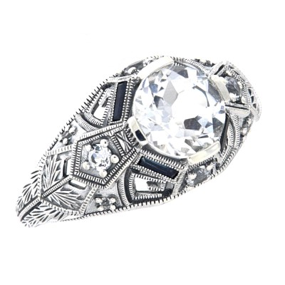 Art Deco Style White Topaz Filigree Ring w/ Blue Sapphire, White Topaz Accents - Sterling Silver