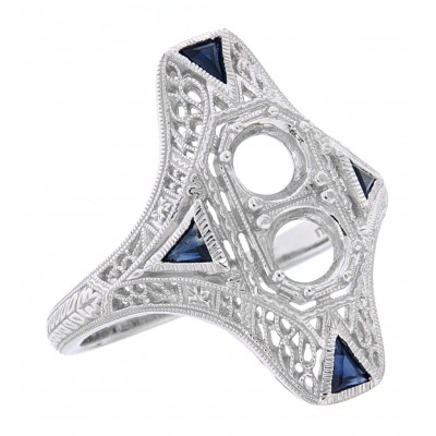 Art Deco Style Two Stone Semi Mount Ring w/ Sapphire Accents - 14kt White Gold