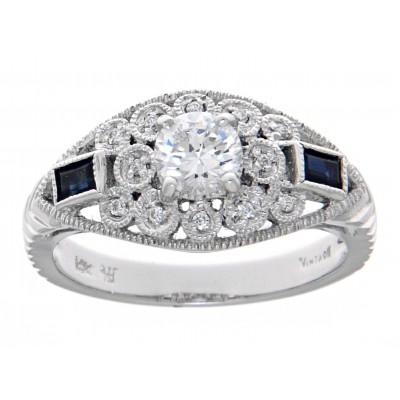 Art Deco Style Filigree CZ Ring 14kt White Gold