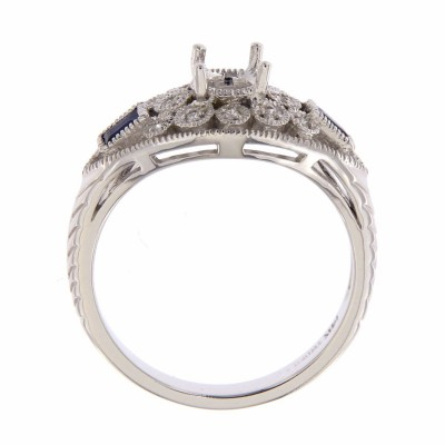 Semi Mount Art Deco Style Filigree Diamond Ring 14kt White Gold