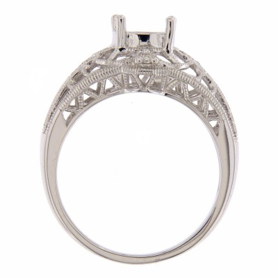 Semi Mount Art Deco Diamond Filigree Ring - 14kt White Gold