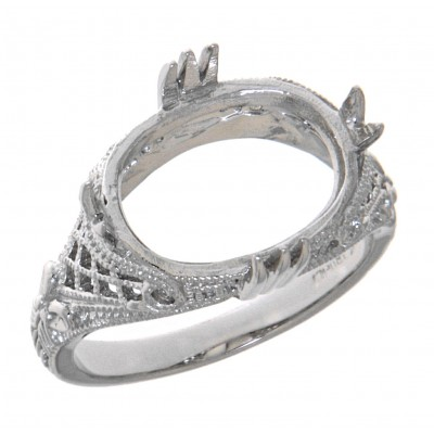 Classic Victorian Style Semi Mount Filigree Ring - 14kt White Gold