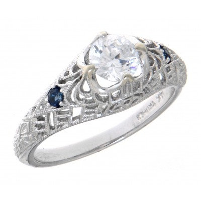 Victorian Style CZ Filigree Ring with Genuine Sapphire Accents 14kt White Gold