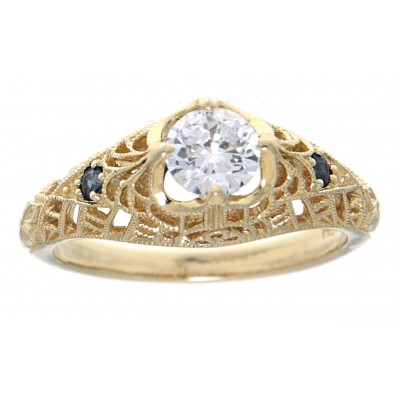 Victorian Style CZ Filigree Ring with Genuine Sapphire Accents 14kt Yellow Gold