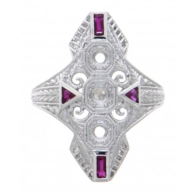 Art Deco Style Filigree Semi Mount Ring with Ruby Accents 14kt White Gold