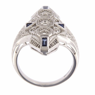Art Deco Style Filigree Semi Mount Ring w/ Sapphires 14kt White Gold