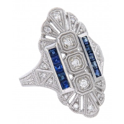 14kt White Gold Diamond and Sapphire Filigree Ring - Art Deco Style