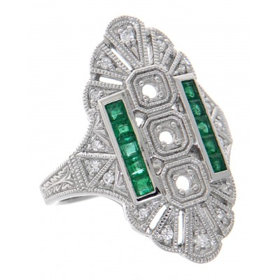 14kt White Gold Semi Mount Diamond and Emerald Ring - Art Deco Style