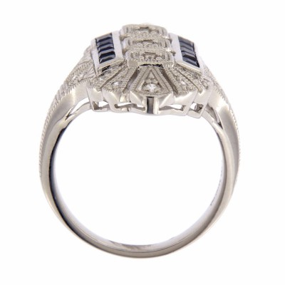 14kt White Gold Semi Mount Diamond and Sapphire Ring - Art Deco Style