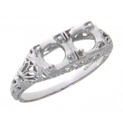 Art Deco Style Semi Mount Filigree Ring - 14kt White Gold