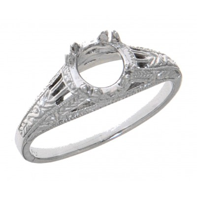 14kt White Gold Semi Mount Antique Style Solitaire Filigree Ring Sterling