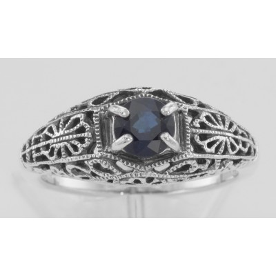 Natural Blue Sapphire Fine Filigree Ring - Art Deco Style - Sterling Silver