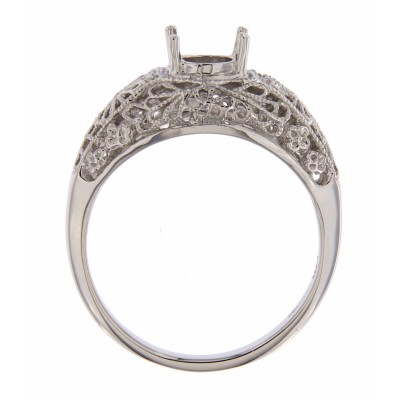 Victorian Style 5mm Semi Mount Filigree Ring - 14kt White Gold
