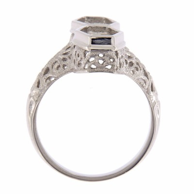 Art Deco Style Semi Mount Filigree Ring - 14kt White Gold
