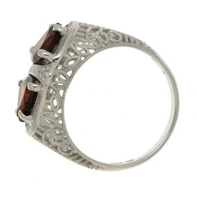 Garnet Art Deco Style 14kt White Gold Filigree Ring 7 x 7mm Trillion Stones