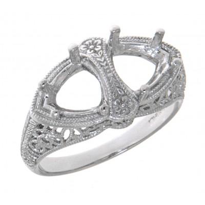 Semi Mount Art Deco Style 14kt White Gold Filigree Ring 7 x 7mm Trillion Stones