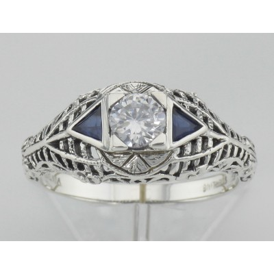 Art Deco Style Cubic Zirconia Filigree Ring w/ Sapphire - Sterling Silver