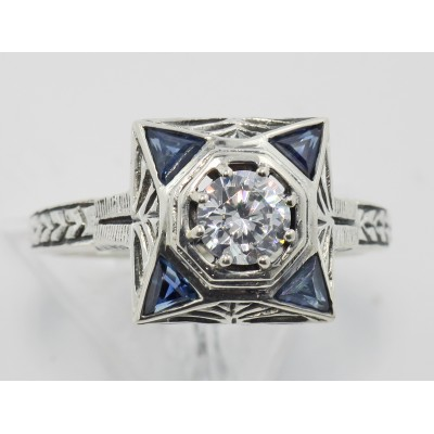 Art Deco Style White Topaz Filigree Ring w/ Blue Sapphires - Sterling Silver