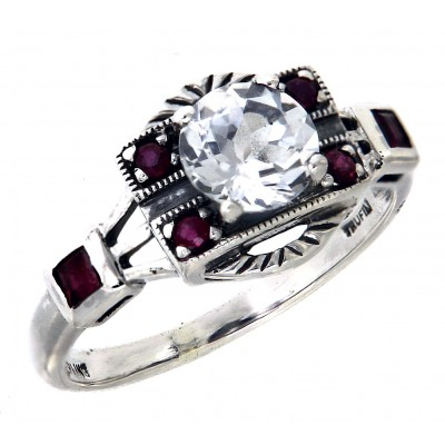 Sterling Silver White Topaz / Ruby Filigree Ring - Art Deco Style