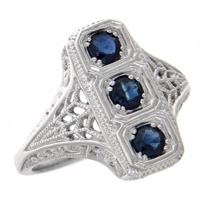 Classic 3 Stone Blue Sapphire Art Deco Style Ring - 14kt White Gold