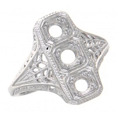 Classic 3 Stone Art Deco Style Ring - Semi Mount 14kt White Gold