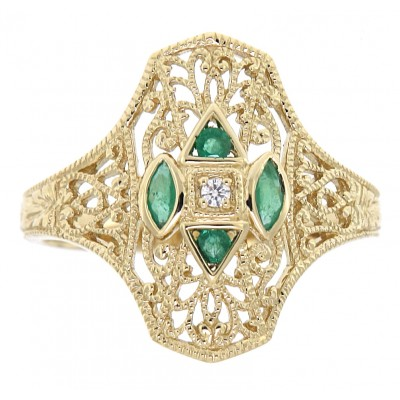 Art Deco Style Filigree Diamond Ring w/ 4 emerald accents - 14kt Yellow Gold