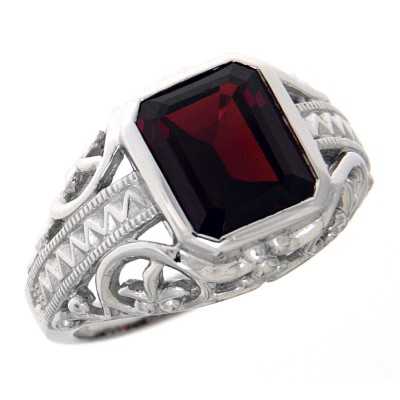 Large Emerald Cut Genuine Garnet Filigree Ring - 14kt White Gold