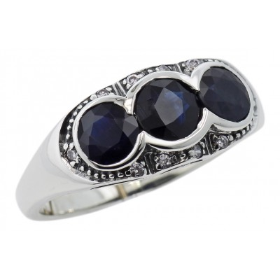 Lovely Art Deco Style Ring w/ Sapphires  Diamonds  Sterling Silver