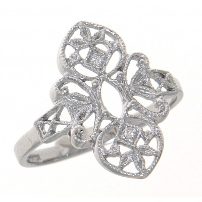 Lovely Victorian Style Semi Mount Filigree Ring with 2 Diamonds 14kt White Gold