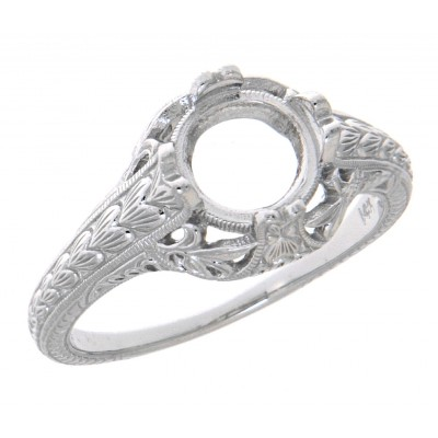 Semi Mount 7mm Classic Victorian Style Filigree Ring - 14kt White Gold