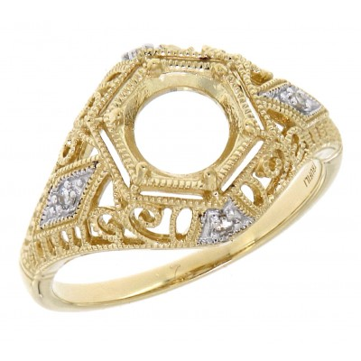 Semi Mount Art Deco Diamond Filigree Ring - 14kt Yellow Gold - 6mm Center