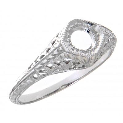 Semi Mount Art Deco Style 14kt White Gold Filigree Ring 4.5 mm Center