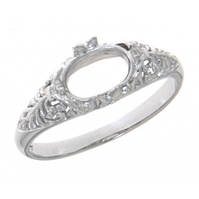 Semi Mount Art Deco Style 14kt White Gold Filigree Ring 6 x 8mm Oval