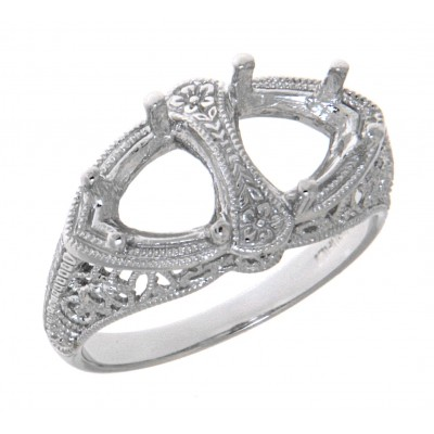 Semi Mount Art Deco Style 14kt White Gold Filigree Ring 7 x 7mm Trillion Stones