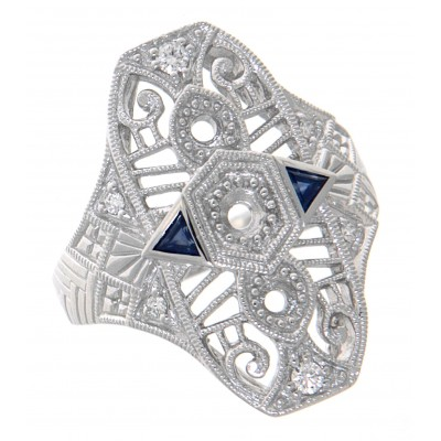 Semi Mount Art Deco Style Diamond / Blue Sapphire Filigree Ring 14kt White Gold