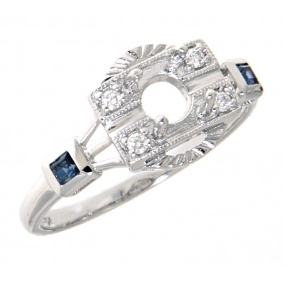 Semi Mount Diamond and Sapphire Filigree Ring - Art Deco Style 14kt White Gold